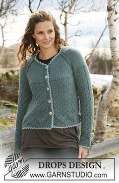 """Ravelry: Jacket with lace pattern and raglan sleeves in 2 threads """"Alpaca"""" pattern by DROPS design Drops Design, Vest Pattern, Top Pattern, Free Pattern, Knitting Patterns Free, Knit Patterns, Free Knitting, Pull Crochet, Magazine Drops"""