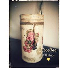 #Dstellos Y para terminar el día nada como quedar satisfecha haciendo una de las cosas que más me gustan!!! Todo reciclado!!! Hoy D'stellos se siente un poco #Vintage!!! #Canarias #Scrap #Manualidades #Reciclar #Decoupage
