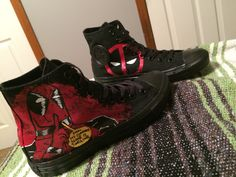 Custom Pair Of Deadpool Adult Converse by ArtScribbles on Etsy https://www.etsy.com/listing/234147406/custom-pair-of-deadpool-adult-converse