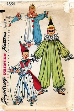 Vintage Halloween Ephemera ~ Clown Costumes Simplicity Pattern ©1954