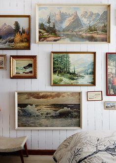 all those thrift store landscapes could make something this beautiful together...YES!!! Paint frames gold