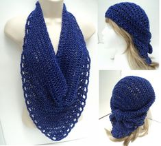 Veil Knit Scarf Bandana - with Crochet Edging for the BEGINNER knitter and crocheter