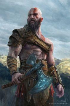God of War Kratos by Jorsch Two.fucking dayyssssssss - - Ideas of - God of War Kratos by Jorsch Two. Fantasy Warrior, Fantasy Art, Character Concept, Character Art, Vikings, Tableau Star Wars, Kratos God Of War, Viking Art, Marvel
