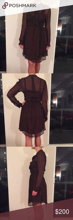Madam á Paris Dress Gorgeous, chocolate brown dress bought in Paris. Delicate material, with slip underlay. V neck slip, of same color. Fringe detail on bodice with belt of same material. Madam á Paris Dresses Long Sleeve