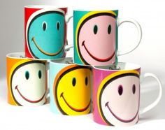 Smiley Happy Deco Set of 6 Mugs by ECP Design Ltd