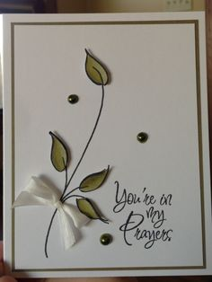 You're In My Thoughts by Zoie - Cards and Paper Crafts at Splitcoaststampers without bow, maybe drawn on for men Making Greeting Cards, Greeting Cards Handmade, Simple Handmade Cards, Prayer Cards, Get Well Cards, Pretty Cards, Card Tags, Flower Cards, Cool Cards