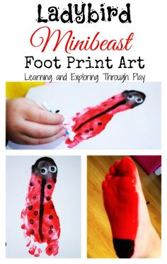 Ladybird art, minibeast activities, footprint art for kids. Learning and Exploring Through Play.