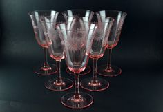 Lovely, rare pink depression glass water goblets In excellent vintage condition Smooth stem, optic Lancaster Jubilee pattern. This listing is for six (6) glasses Weight of each glass is 123 gr Height