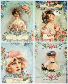Shabby Chic French Style Vintage Women Fabric Block Quilt Pillow Set of 4 Decoupage Vintage, Éphémères Vintage, Images Vintage, Vintage Labels, Vintage Ephemera, Vintage Pictures, Vintage Paper, Vintage Postcards, Vintage Prints