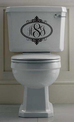 Fancy Oval Monogram Vinyl Wall Art Bathroom Toilet Decal by designstudiosigns for $25.00