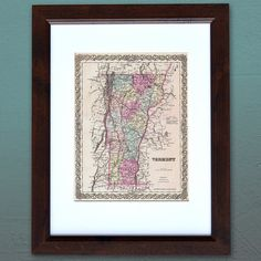 Antique Map of the State of Vermont ca 1855 by PortofPrints