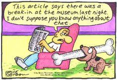 funny dog cartoons | funny-dog-cartoon-museum-break-in