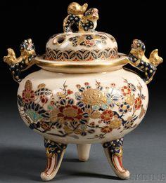 A Satsuma pottery censer, Japan, circa Japanese Vase, Japanese Porcelain, Japanese Ceramics, Japanese Pottery, Porcelain Ceramics, China Porcelain, Ceramic Pottery, Pottery Art, Ceramic Art