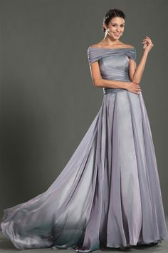 osell wholesale dropship Chiffon Pleated Off Shoulder Sleeveless Court Train A Line Evening prom Dresses $86.66
