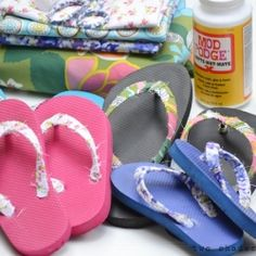 Simple DIY to pretty up your flip flops by wrapping fabric around the straps.