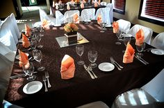 A peach and chocolate table-scape in our Tee Room is complimented by centerpieces, made by one of our preferred vendors, A Garden Party