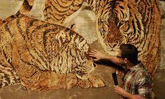 Domotex Hanover 2014 l Petting the rug-tiger: Jürgen Dahlmann knows his treasures. Photo © Martina Metzner l  Ground jewels , STYLEPARK