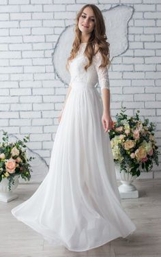 Spring Ivory Wedding Dress with Half Sleeves
