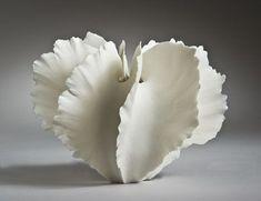 White ceramic natural shape clay art pottery artist Sandra Davolio Lauen- thin multiple pinched pieces