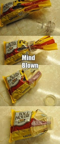 Mind blown: cut off a bottle spout to store snack bags