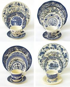 Mix Match Blue Transferware, This site sells groups, and it is has excellent photos to how you how. They have lots of my favorite pieces! ~ Mary Wald's Place - Antiquaria: The Copenhagen Vintage Fine China Collection Blue Dishes, White Dishes, Fancy Dishes, Blue And White China, Blue China, Blue Willow China, Vintage Dinnerware, Blue Dinnerware, Blue Plates