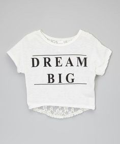 44d89f58ecf0f7 Another great find on White  Dream Big  Lace-Back Crop Top - Toddler    Girls by American Kids