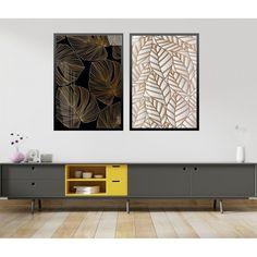 Wallpaper Accent Wall Bathroom, Credenza, Storage, Furniture, Home Decor, Golden Leaves, White Frames, Shelf Wall, Portrait Frames