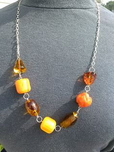 """Silver chain with amberl focal beads.  14"""".  G332.  $20.00"""