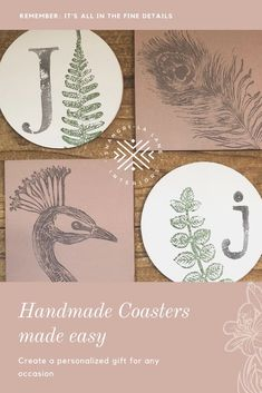 You can easily create handmade gifts for any occasion. The IOD Decor Stamps can be used on wood, walls, tile, and more. Personalized Coasters, Diy Coasters, Diy Gifts, Handmade Gifts, Wood Walls, Diy Home Decor Projects, Inspirational Gifts, Make Your Own, House Warming
