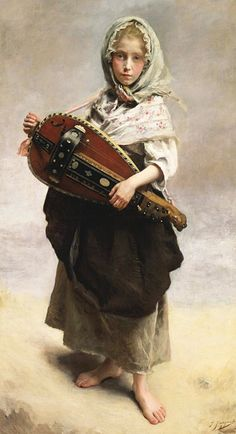 """""""Girl Minstrel"""" - Gustave Jean-Jacquet (French, 1846-1909), oil on canvas, 1881 {fine art female standing child painting #arthistory #nineteenthcentury}"""
