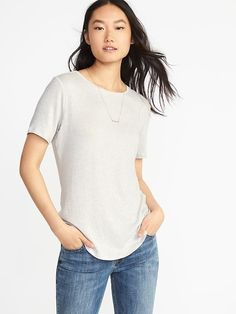 Luxe Soft-Spun Curved-Hem Tee for Women