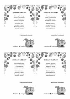 JESIENNE WIERSZOWANKI wiewióreczki Hanki Word Search, Words, Speech Language Therapy, Horse