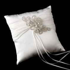 Ring Pillow with Silver Clear Floral Swirl Crystal Brooch