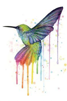 Rainbow Hummingbird by Olga Shvartsur Painting Print on Wrapped Canvas