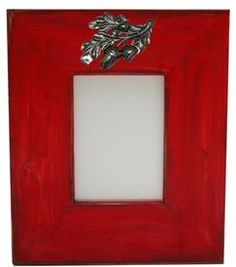 Hand-Painted Red Wooden Frame with Acorn Leaf Medallion  Wouldn't a picture of your family's playing in the leaves look great in this frame?!