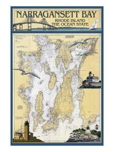 Narragansett Bay, Rhode Island Nautical Chart Print at AllPosters.com