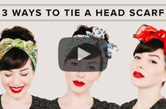 Vintage Hair Learn how to tie a head scarf 3 different ways with this step by step video tutorial by Keiko Lynn. - Learn how to tie a head scarf 3 different ways with this step by step video tutorial by Keiko Lynn. Diy Head Scarf, Head Scarf Tutorial, Ponytail Tutorial, Head Scarf Tying, Head Scarfs, Hair Scarf Styles, Short Hair Styles, Tie A Turban, Vintage Hair