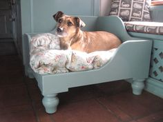 Luxury Wooden Raised Corner Dog Bed Personalised