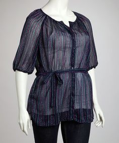 Look at this #zulilyfind! Black & Magenta Button-Up Top - Plus #zulilyfinds