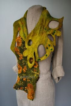 sassafrasdesignyhow to get nuno felting prefelt and holes in one piece?