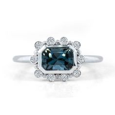 Teal Spinel Halo Engagement Ring 0.67ct Teal Spinel 14k White Gold 10 white diamonds $2200