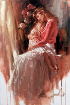 Richard Johnson Hold You Close Original Oil Painting. Mother Daughter Art, Mother Art, Mother And Child, Woman Painting, Figure Painting, Painting & Drawing, Pastel Drawing, Renaissance Kunst, Double Exposition