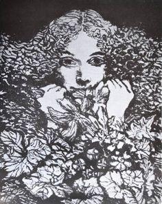 Portrait with flowers, engraving by Manuel Alcorlo, Madrid 1935.  Retrato con flores, grabado, Manuel Alcorlo