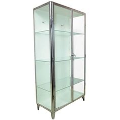 Polished Steel Medical Display Cabinet, circa 1930 | From a unique collection of antique and modern cabinets at https://www.1stdibs.com/furniture/storage-case-pieces/cabinets/