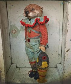 Billy Brownbanks got a knitted fish for Christmas. Textile Sculpture, Soft Sculpture, Sculptures, Marionette, Little Doll, Doll Maker, Textile Artists, Doll Toys, Altered Art