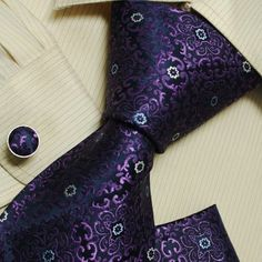 Amazon.com: Purple Paisleys men with ties christmas gift silk neck tie cufflinks Handkerchiefs set H5156 One Size Purple: Clothing