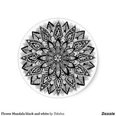 Flower Mandala black and white Classic Round Sticker