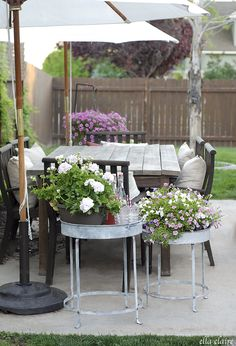 Galvanized Tables on the Patio