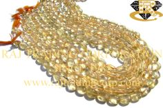 Citrine Smooth Oval (Quality B) Shape: Oval Smooth Length: 36 cm Weight Approx: 18 to 20 Grms. Size Approx: 7x9 to 8x10 mm Price $3.00 Each Strand