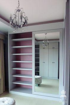 chic walk-in closet, pink closet, gray closet. Purses on one side. Dresses on… Pink Closet, Room Closet, Walk In Closet, Master Closet, Architecture Design, Dressing Room Design, Dressing Rooms, Closet Vanity, Girl Bedroom Designs